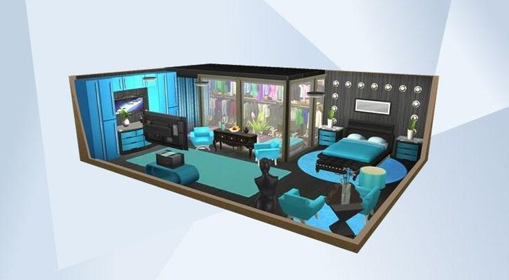 Check out this room in The Sims 4 Gallery! - ♥Follow me for more creations like this, or completely unlike this!♥ #Trendy #Modern #Bedroom #Ice #Blue #Cool #Littlecrudescreations #Funky #Colorful #Walkin #Sexy #Nocc #Nosteal