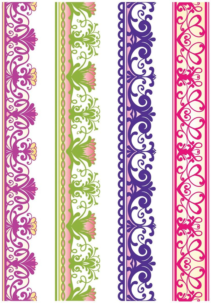 borders for scrapbooking   Lace Borders Two 4pc JustRite Stampers Cling Stamp Set CL03635