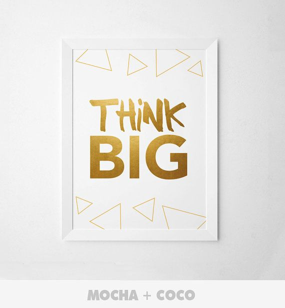 Think Big Poster | Motivational Quote, Office Startup Corporate Decoration, Printable Mocha + Coco, Instant PRINT FILE DOWNLOAD