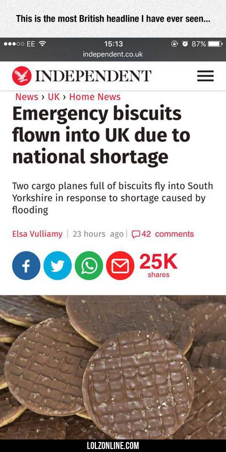Emergency Biscuits Flown Into Uk #lol #haha #funny