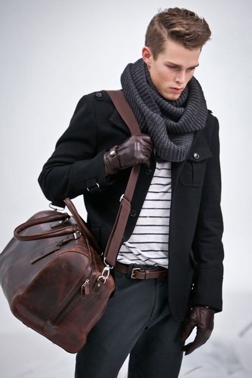 Outfit & Bag... brown with black, it's OK guys. Match the shoes, gloves and belt, let the shirt, jacket etc. be the contrast area.