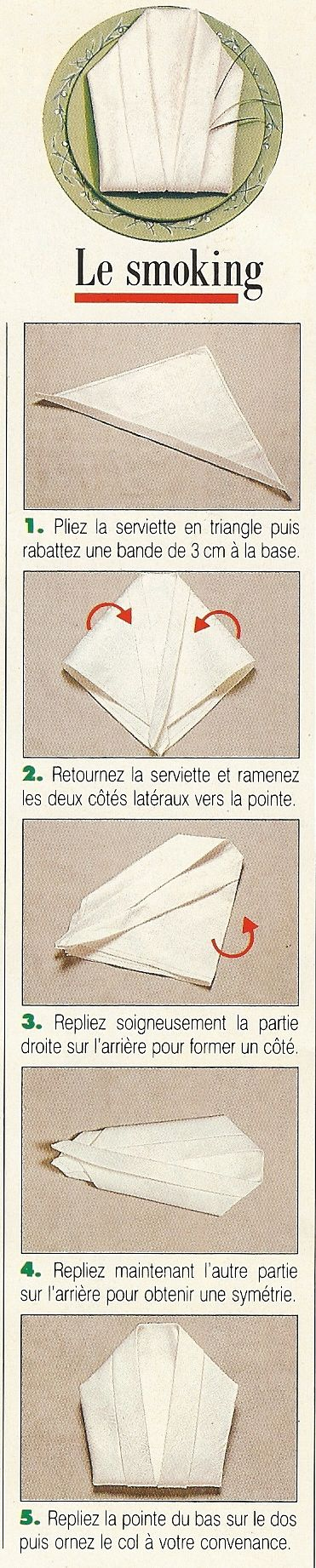 Pliage de serviettes en forme de smoking