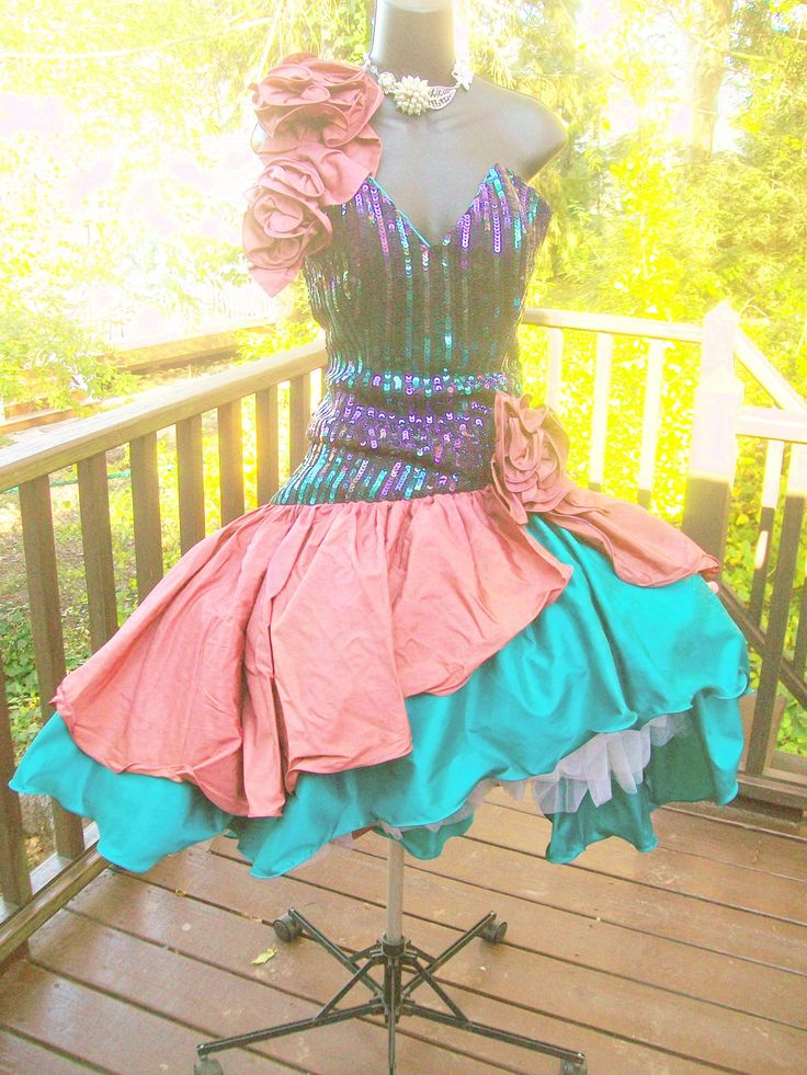 80s prom dress- we could set mannequins around dressed up for 80's prom!