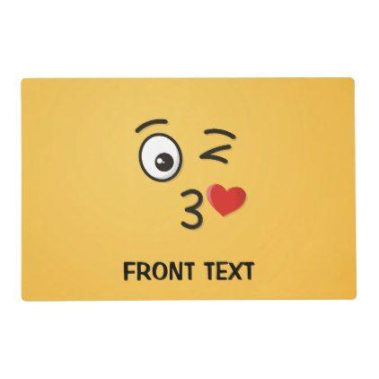 #Face Throwing a Kiss Placemat - #emoji #emojis #smiley #smilies