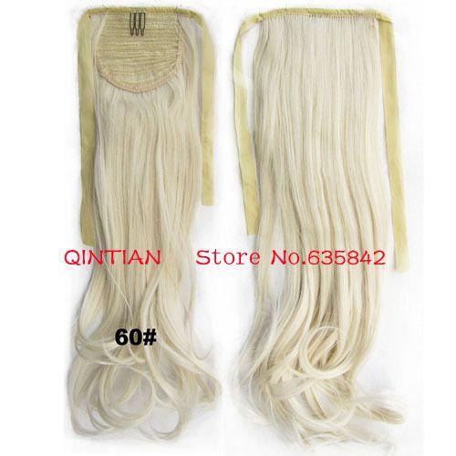 # 60 White светлые цвета мода шнурок лента хвостики волос расширения волнистые парик 24  60 см 100 г синтетические шиньоны