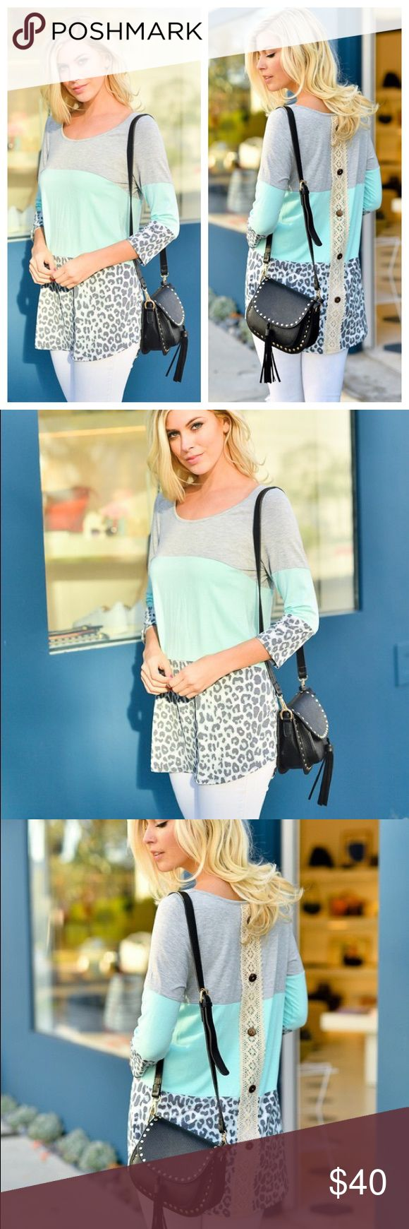 Mint leotard gray tunic top long sleeve lace shirt JUST IN!!! Beautiful mint green, gray, leopard, cheetah, lace back detail boutique tunic. Perfect top to pair with leggings or jeans. Dress up or down either you will look beautiful! Fall long sleeve shirt. Bundle and save. boho gypsy boutique Tops