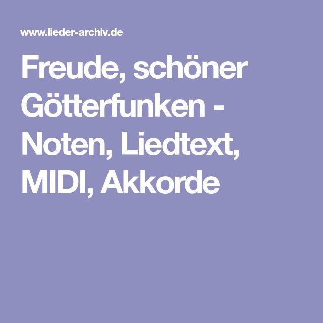 Freude, schöner Götterfunken - Noten, Liedtext, MIDI, Akkorde