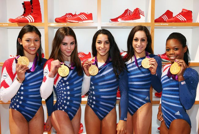 LONDON, ENGLAND - AUGUST 08:  (FREE FOR EDITORIAL USE) Kyla Ross, McKayla Maroney, Aly Raisman, Jordyn Wieber and Gabrielle Douglas (L-R) of the United States women's Gymnastics team at the adidas Olympic Media Lounge at Westfield Stratford City on August