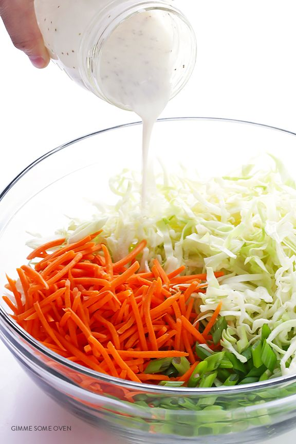 Greek Yogurt Coleslaw -- the classic coleslaw we all love, lightened up with Greek yogurt instead of mayo and ready to go in 5 minutes!   gimmesomeoven.com