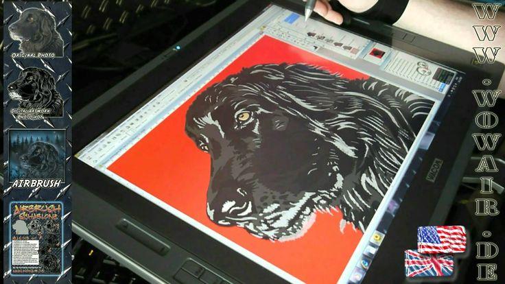 """No.135  Airbrush by WOW """" how to ... cut a stencil """" Hund Sonderauftrag ..."""