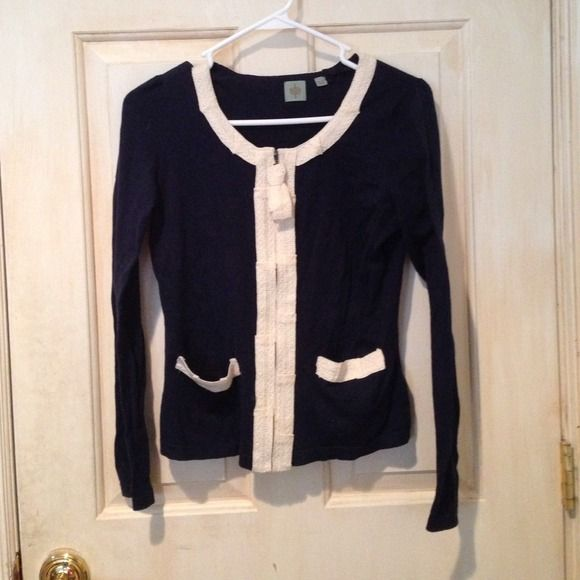 Blue and White Zip Up Cardigan Small barely visible stain, will probably come out in the wash HWR Sweaters Cardigans