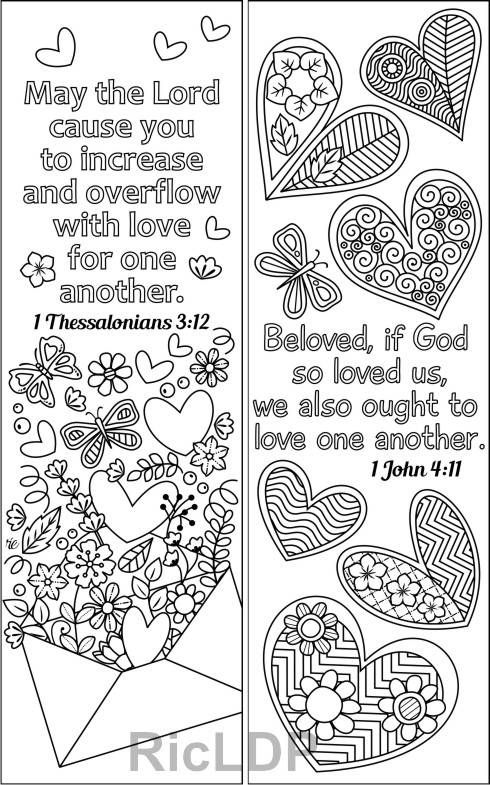Set Of 8 Coloring Bookmarks With Love Bible Verses