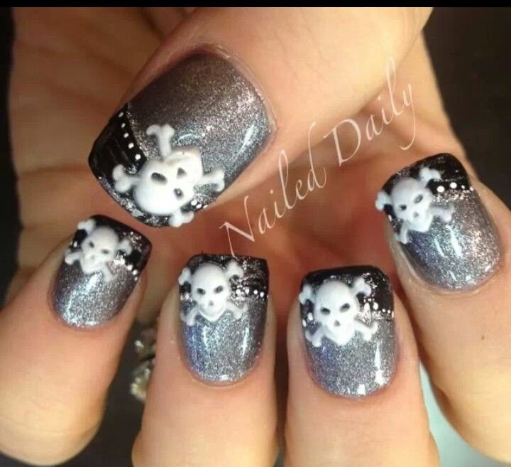 OK MALLORY THESE R THE NAIL DESIGNS I WANT! - 403 Best Nails ~ Skulls Images On Pinterest Skull Nail Art