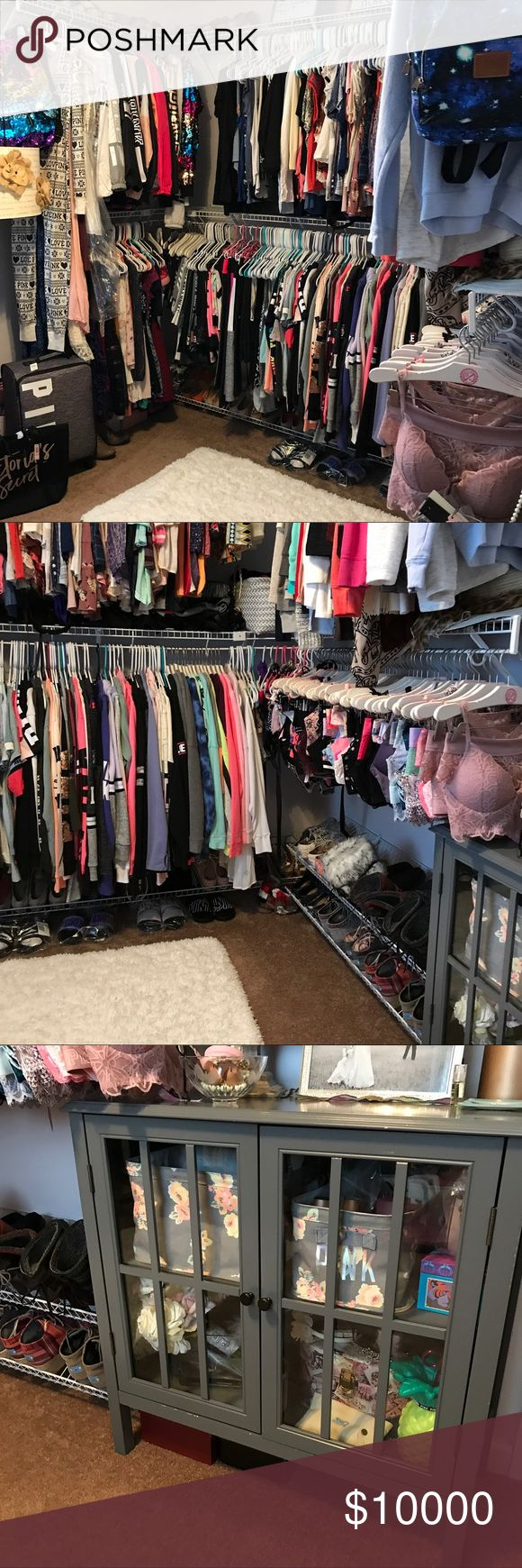 My Closet! Not for sale, just showing my closet! 🎀 currently working on getting all my PINK clothes onto PINK hangers 😊. Also, trying to find a cute way to display bedding without a bed! Lol any ideas, lmk! PINK Victoria's Secret Other