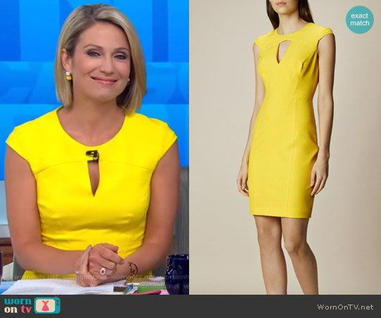 Amy's yellow cutout dress on Good Morning America.  Outfit Details: https://wornontv.net/72163/ #GoodMorningAmerica