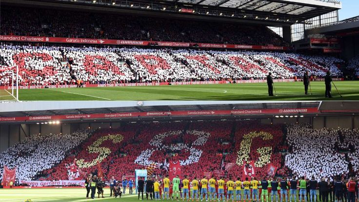 Best soccer Tifos from around the world:    Liverpool:   Fans at Anfield pay tribute to Steven Gerrard in his final home match as a Liverpool player in May 2015.