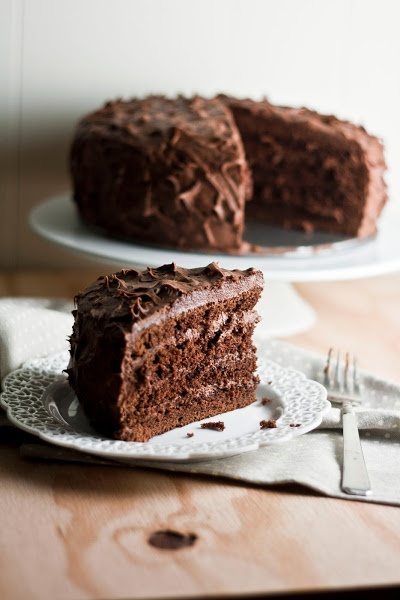Chocolate Sour Cream Cake with Chocolate Buttercream Frosting