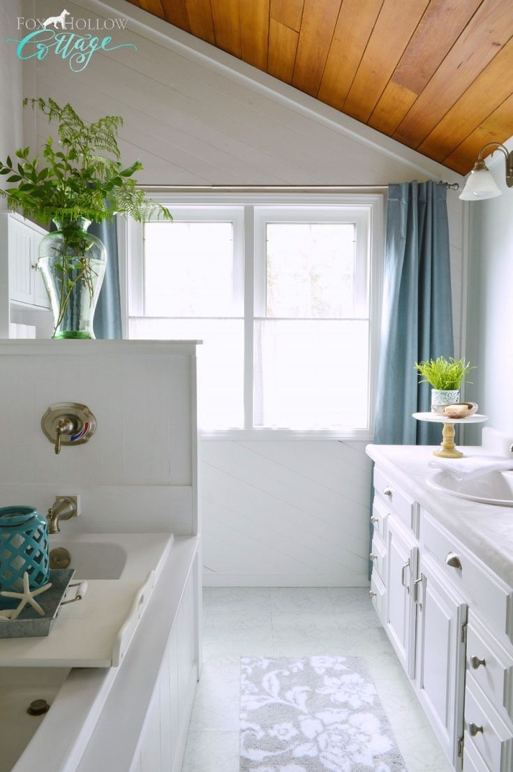 Light & Bright Coastal Cottage Bathroom in White with Aqua & Grey Accents. #BHGlivebetter #sponsored