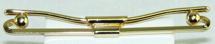 """Gold Tone Vintage Mens Tie Shirt Collar Stay Bar Clip Curved Ball End 2.5"""" #Unbranded #TieBarClipClasp"""