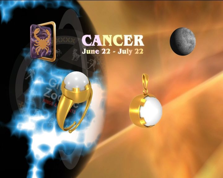 Cancer PEARL rings buy online at Teleskyshopping