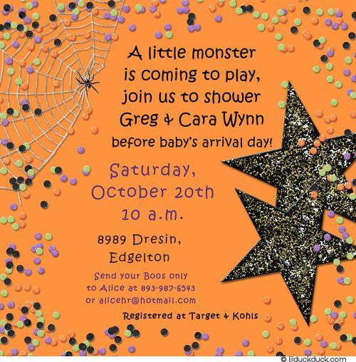 Halloween+baby+shower+invitations | Confetti Halloween Baby Shower  Invitation   Photo Spiderweb