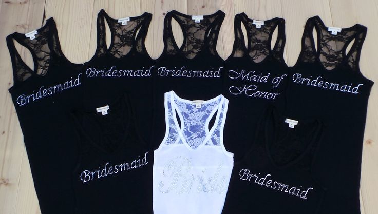 8 Bride Lace Tank Tops.  Bridesmaid. Wifey. Wedding Tank Top Shirt. Team Bride. Bridal Party Lace Tanks Shirts. by JWBridalShop on Etsy https://www.etsy.com/listing/177199491/8-bride-lace-tank-tops-bridesmaid-wifey