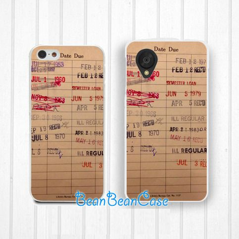 Library Check Out Card Due Card Vintage Case - LG Nexus 5 4 LG G2 G3 - iphone 6 5 5s 5c 4 4s case, htc one m7 m8 e8 desire mini 2 case (R12)