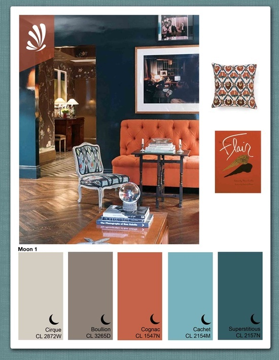 rust,gray,blue color combo