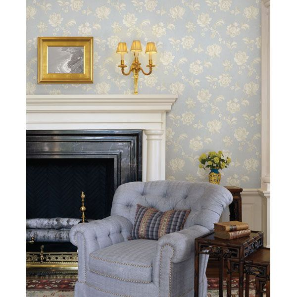 Blue And White Living Room Decor Beautiful Classic Fireplace Mantel Pale  Blue Grey Wallpaper Gold Accesories Part 88
