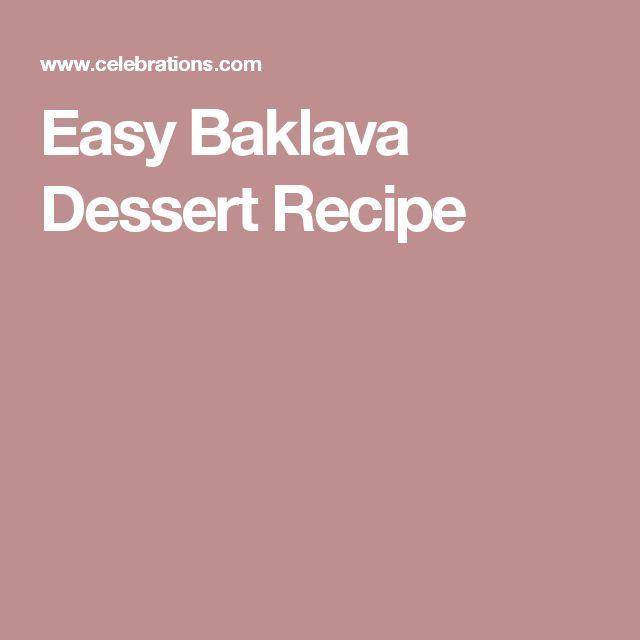 Easy Baklava Dessert Recipe