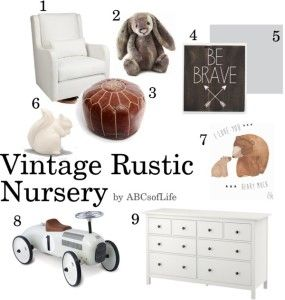 Vintage Rustic Nursery mood board and design inspiration