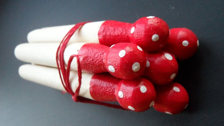 Wooden Clothes/Dolly Pegs Set of 6 With Polka Dots by MysticPeg, £3.50