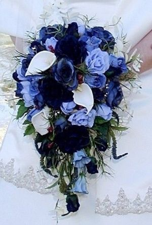 Blue wedding bouquet. Love this! Maybe in a purple/yellow/orange/green