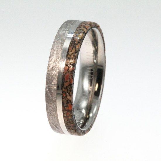 Meteorite Ring with Dinosaur Bone and Titanium Pinstripe Inlay on Titanium Band - Engraving Available. $776.00, via Etsy.