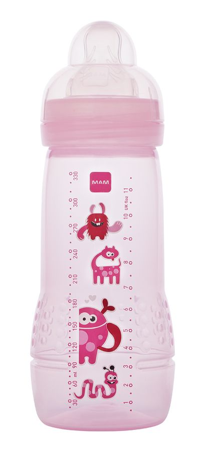 MAM Baby Bottle- 9 oz.- Pink- Fun and lovable monsters for your little monster!
