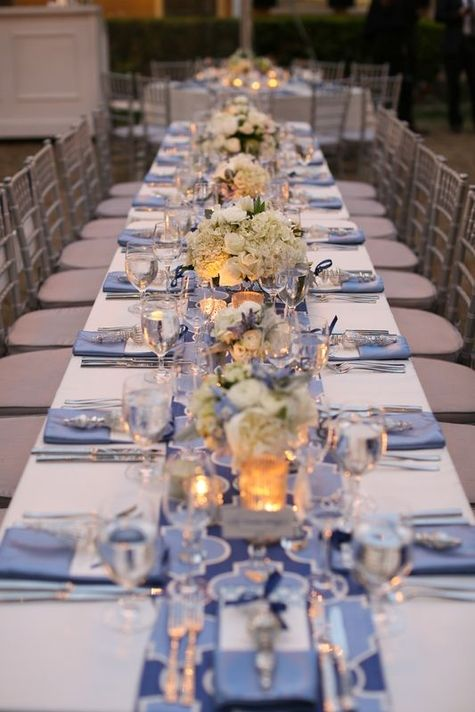 Long tables with small romantic floral arrangements |  The Connelleys Photography