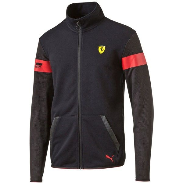 Puma Men's Ferrari Track Jacket (€68) ❤ liked on Polyvore featuring men's fashion, men's clothing, men's activewear, men's activewear jackets, black, mens track jackets, mens track tops and mens activewear
