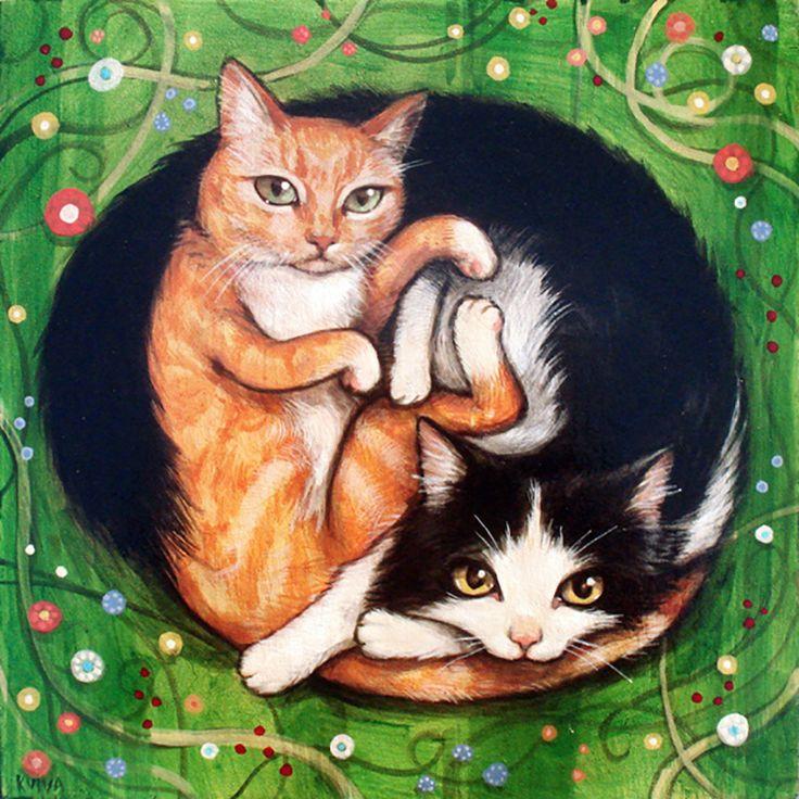 """Yin Yang Cats"" par Kelly Vivanco"