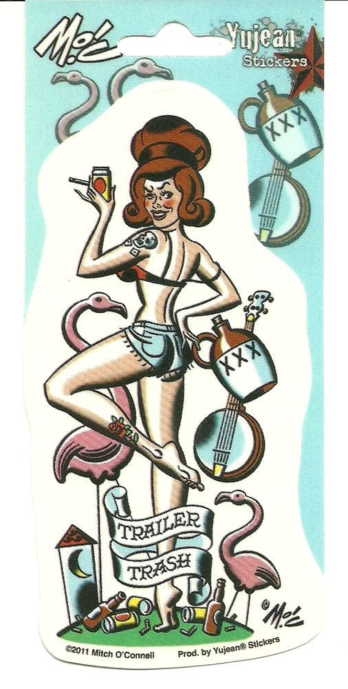 Sexy TRAILER TRASH GIRL Pinup Sticker Decal