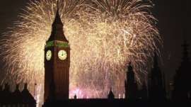 Fireworks in London.  New Year