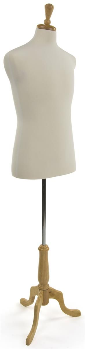 Male Dress Form w/ Wooden Stand, Adjustable Height, Size 38 - White Fabric