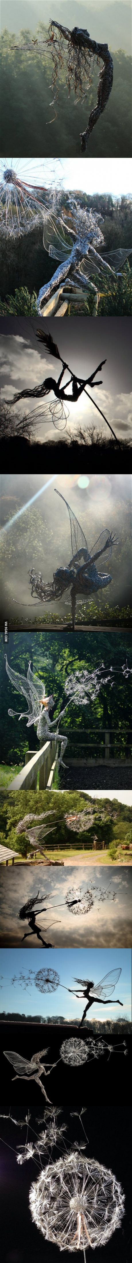 Fantasy fairies wire sculptures