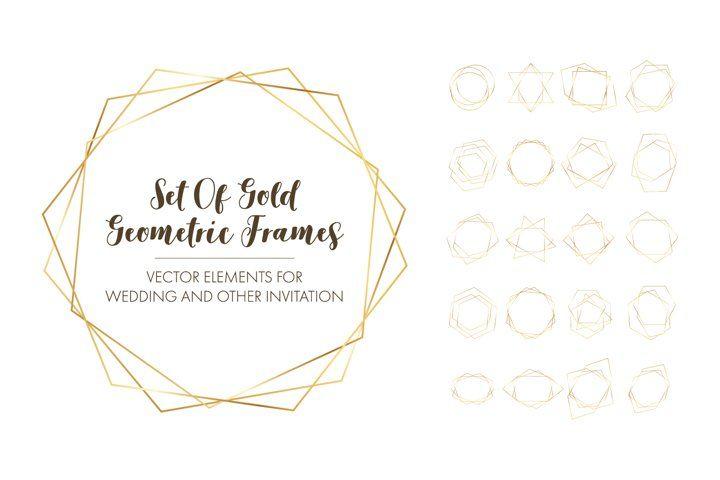 Download Gold Geometric Luxury Frames 571506 Decorations Design Bundles In 2020 Gold Geometric Geometric Design Bundles