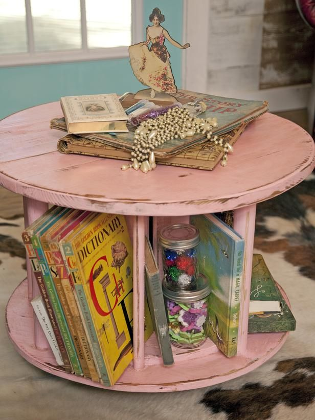Repurposed Wooden Spools. You can usually find these for free at home improvement stores. --> http://www.hgtv.com/decorating-basics/25-new-ways-to-use-your-old-stuff/pictures/page-22.html?soc=pinterest