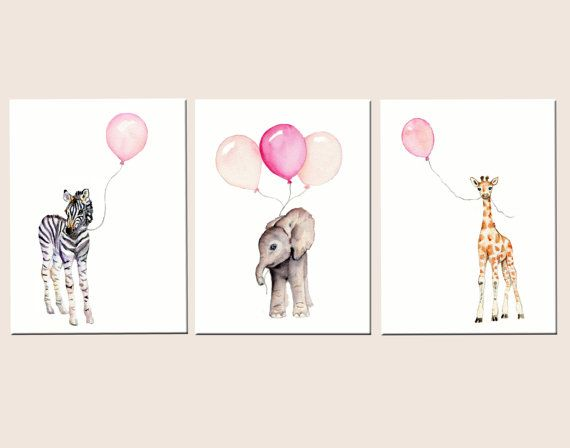 Girls nursery decor, baby print set, nursery set, pastel pink baby decor, safari nursery art, childrens wall art, balloon nursery