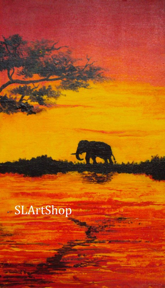 Lonely Sri Lankan Elephant Original Acrylic Painting By