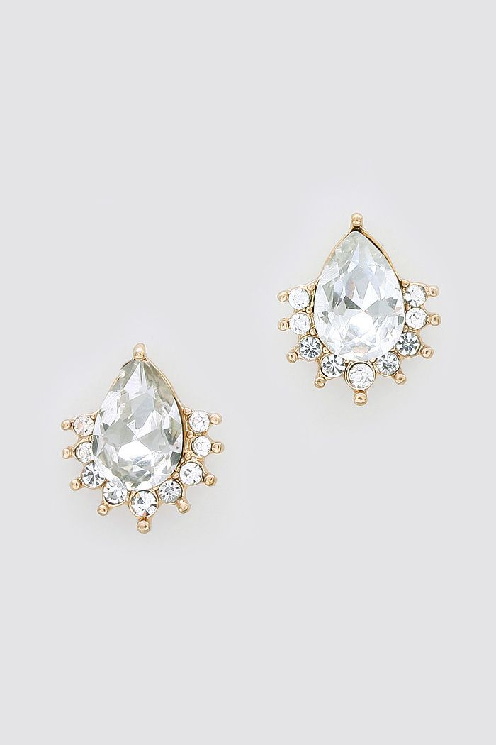 Crystal Mia Earrings in Gold on Emma Stine Limited