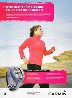 """This image is designd for middle class and above, It uses the quote """"With help from Garmin, I'll be fit for summer"""" to indicate that it is a sport watch. The slogan also helps the audience to gain the curiosity of how the watch is going to help people to get fit. This image is desinged for women as fitness is a problem for most of the women. The background color gives a peaceful and relaxed feeling which would encourage more people to exercise and use it's product."""