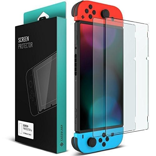 Nintendo Switch Screen Protector Caseology [Newly Revised] [Tempered Glass] Transparent HD Clear Anti-Scratch Glass Screen Protector [2 Pack] Version 2.0 for Nintendo Switch (2017)