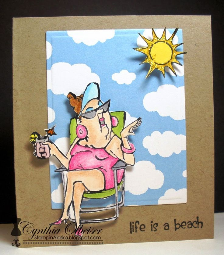 Art Impressions® Clear Stamp Set, Beach Babes available at Michael's.  Handmade girlfriends beach card.